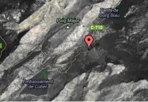 """Lage von """"Gorg Blau"""" und """"Cúber"""" auf der Karte"""