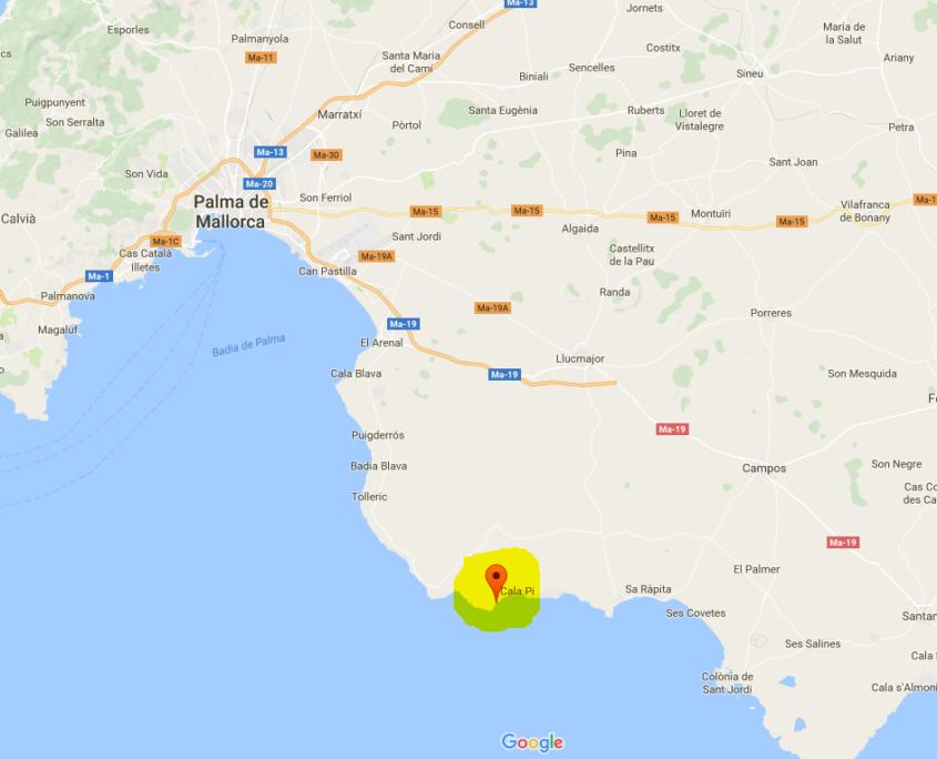 Cala Pi auf der Karte