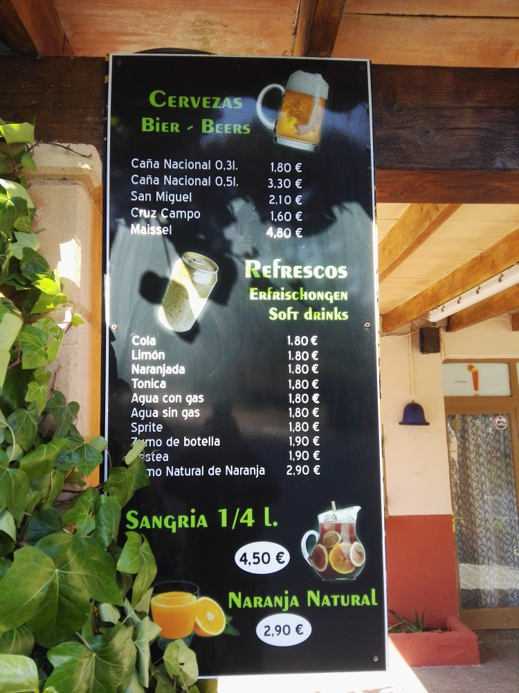 Preise vor Ort in Mesquida